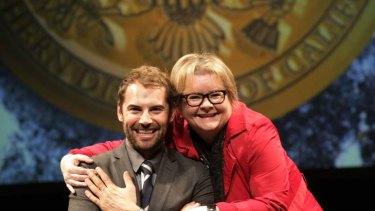 "Dan MacPherson and Magda Szubanski on the Melbourne set of ""8 The Play"""