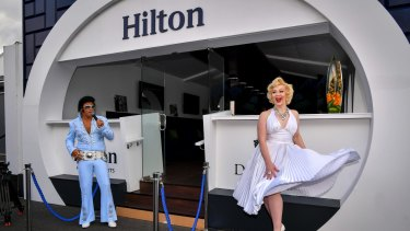 Hilton had Elvis and Marilyn Monroe impersonators to promote its marquee on Thursday.