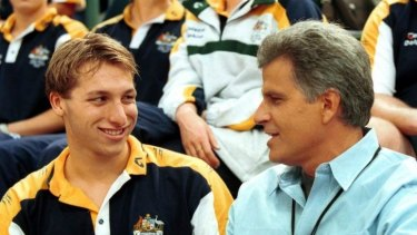 Coming out earlier would have helped: Ian Thorpe with Mark Spitz.
