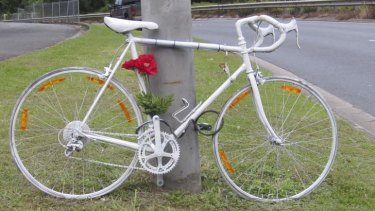 "A ""ghost bicycle"" marking where 25-year-old Richard Pollett was killed."