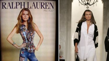 'Overweight' ... the digitally altered Ralph Lauren photo, left, and Filippa Hamilton on the runway for the fashion powerhouse.