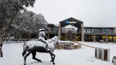 Snow at Mount Buller on Monday morning.