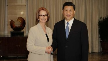 Prime Minister Julia Gillard meeting with Chinese President Xi Jingping at the Bo'ao Forum in Hainan, China.