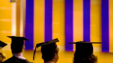 In the current job market, there are no guarantees of a bright future for young people studying at university. Photo: Glenn Hunt