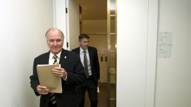 Independent MPs Tony Windsor and Rob Oakeshott leave their historic press conference yesterday.