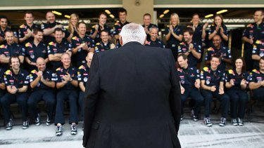 Back to the future ... accepting the plaudits of the Red Bull racing team.