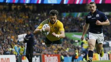 Among their best: Australia's Adam Ashley-Cooper scores a try during the Rugby World Cup quarter-final.