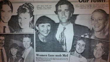 A social clipping from 1991 in the now-defunct Sunday Sun: a Hilton cocktail party hosted Mel Gibson and then-Queensland Premier Wayne Goss.
