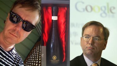 Cameron Collie, left, Google CEO Eric Schmidt, right, and, inset, a picture of the alcohol Collie purchased to celebrate settlement.