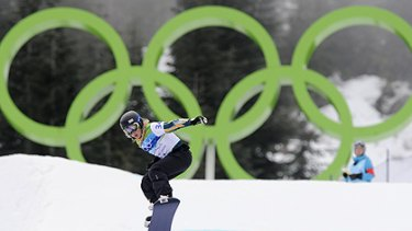 Australian Stephanie Hickey during the women's snowboard cross qualifying.