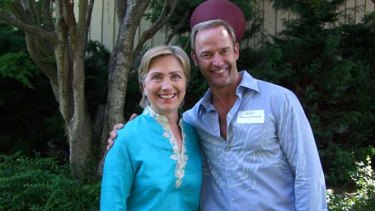 Murky: Snaps of Ziolkowski with Hillary Clinton, in New York.