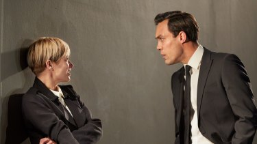 Sian Brooke and Alex Hassell in <i>I'm Not Running</i> at Britain's National Theatre.