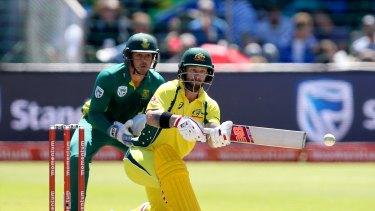 Matthew Wade bats in the fourth ODI.