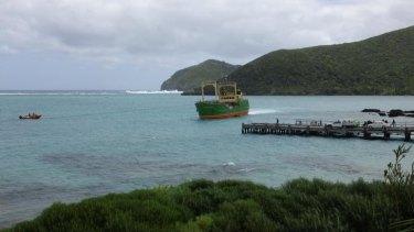 The MV Island Trader ran aground on a sandbank off Lord Howe Island.