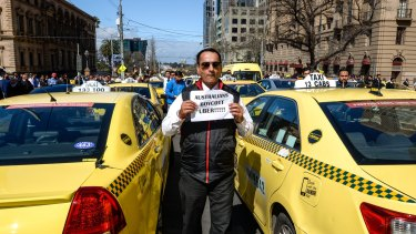 Taxi drivers, these ones in Melbourne earlier this month, are not so happy about the rise of Uber X ridesharing.