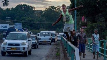 On the nameless main road of Honiara, the Solomon Islands.