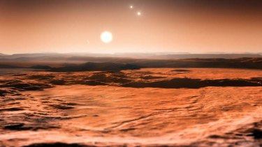 An artist's impression of the view from the exoplanet Gliese 667CD looking towards the planet's parent star (Gliese 667C). In the background to the right, the more distant stars in this triple system (Gliese 667A and Gliese 667B) are visible and to the left in the sky one of the other planets, the newly discovered Gliese 667Ce, can be seen as a crescent.