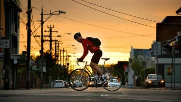 One of thousands of Melbourne cyclists who took part in Ride2Work Day on Wednesday.