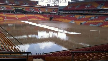 Washed out ... Brisbane's Suncorp Stadium wasn't spared the brunt of the Queensland floods.