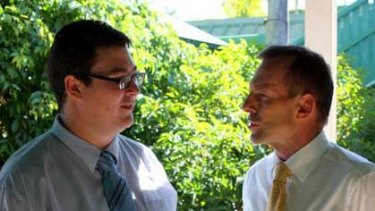'Colourful' ... George Christensen and Tony Abbott in a photo taken from the LNP candidate's public Facebook page.