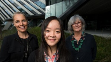 International student Mai Duong is embarking on a degree at Monash University and has just received a scholarship from Woodside. She's with Jo Middleton (left) from Woodside and Bronwyn Shields from Monash.