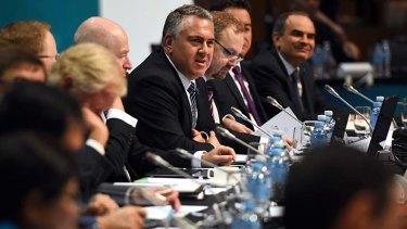 Treasurer Joe Hockey speaks at the G20 Finance Ministers meeting in Cairns on Saturday.
