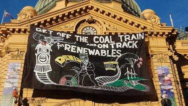 Anti-coal protestors make their mark.