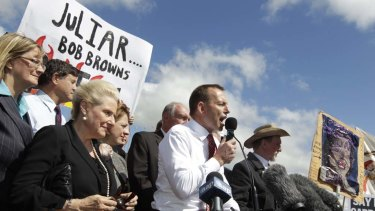 Opposition Leader Tony Abbott speaks at the No Carbon Tax rally outside Parliament House in Canberra today.