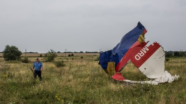 A Ukrainian police officer searches the crash site of flight MH17.