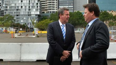 NSW Premier Barry O'Farrell, left, with Lend Lease Group CEO Steve McCann at Barangaroo South marking the start of major construction.