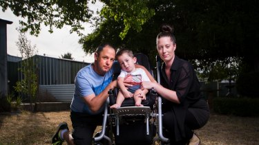 Ben McLennan and Naomi Taylor with their son William McLennan, 2, who has Spinal Muscular Atrophy.
