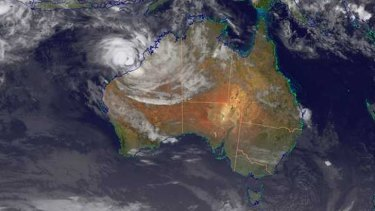 A satellite image from Monday morning shows the approaching cyclone.
