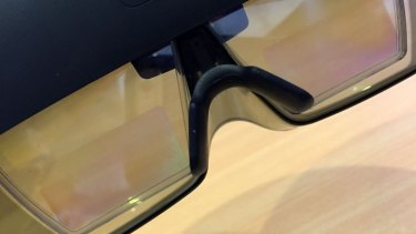 A close-up of the Hololens lenses reveals the small area through which you can see augmented content.