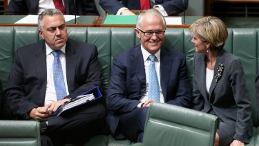 Treasurer Joe Hockey, Prime Minister Malcolm Turnbull and Foreign Affairs Minister Julie Bishop during question time on Wednesday.