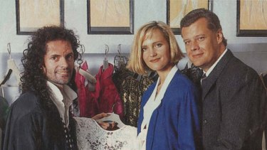 As seen in Woman's Day … the Byrnes-Love nuptials from 1992, with best man and dress designer Klarenz.