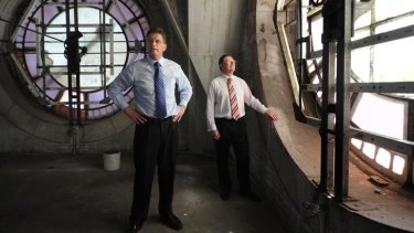 Premier Ted Baillieu (left) and  Major Projects Minister Denis Napthine inspect the bell tower on Flinders Street Station.