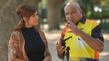 Singers Ellie Lovegrove and Archie Roach.