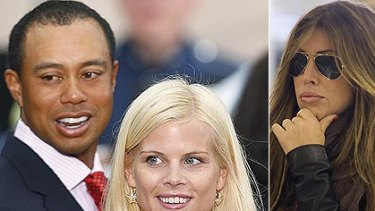 Praising his wife ... Tiger Woods, pictured left with Elin Nordegren. Right, Rachel Uchitel, the woman Woods is alleged to have met up with in Australia.
