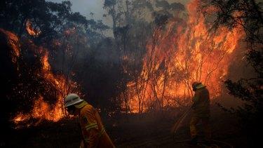 NSW Rural Fire Service crews struggle to contain a bushfire  around the Wentworth Falls escarpment.