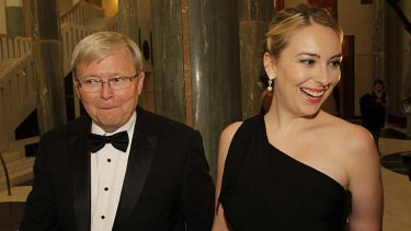 Kevin and Jessica Rudd arrive at the Midwinter Ball.