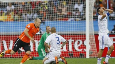 Netherlands' striker Arjen Robben after scoring the opening goal of the second round game against Slovakia.