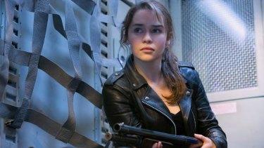 Emilia Clarke as Sarah Connor in <i>Terminator Genisys</i>.