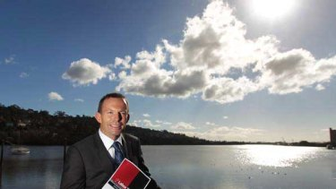 Tony Abbott campaigning in Launceston yesterday.