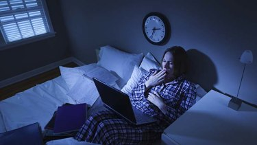 Feeling blue … the screens of laptops and other mobile devices wake our brains up.