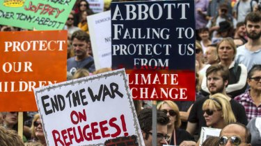 Voters taking part in an anti-federal government rally in Melbourne on Sunday.