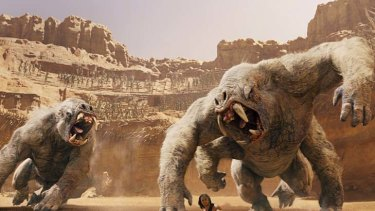 Star bores … there are thrills when white apes threaten John Carter (Tayler Kitsch) but it's hard to get excited about planetary politics.