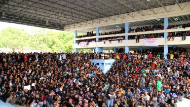 Students at University of PNG rally in Forum Square in a call for Prime Minister Peter O'Neill to step down.