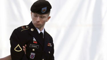 Bradley Manning being escorted into the courthouse.