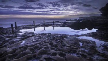 The witching hour: Palacios would rise at 4am to capture pools, such as Coogee's Ivo Rowe pool, in the light of dawn.