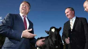 Shadow Agriculture Minister Joel Fitzgibbon and Agriculture Minister Barnaby Joyce inspect a dairy cow on Wednesday. Photo: Alex Ellinghausen